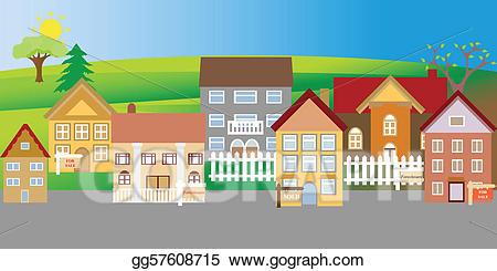 Clip art vector houses. Neighborhood clipart housing area