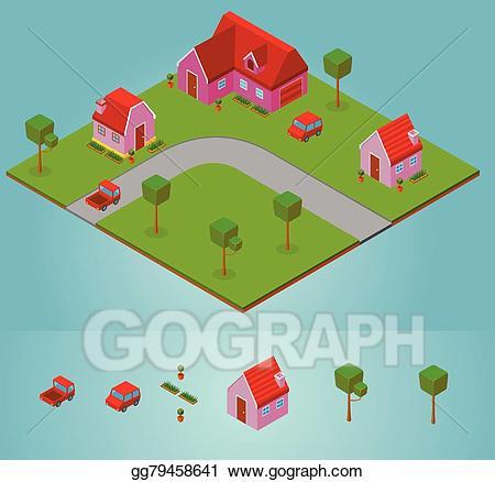 Neighborhood clipart isometric. Eps vector stock