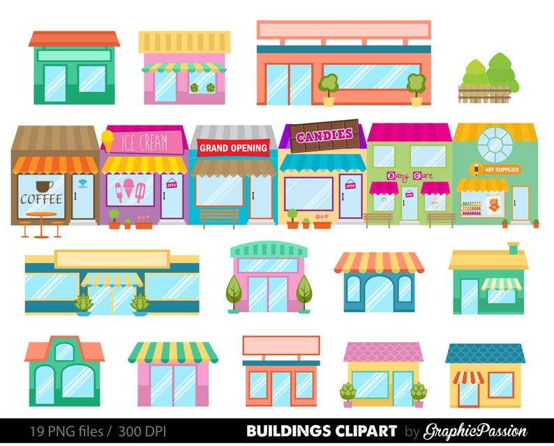 Houses clip art set. Neighborhood clipart kawaii
