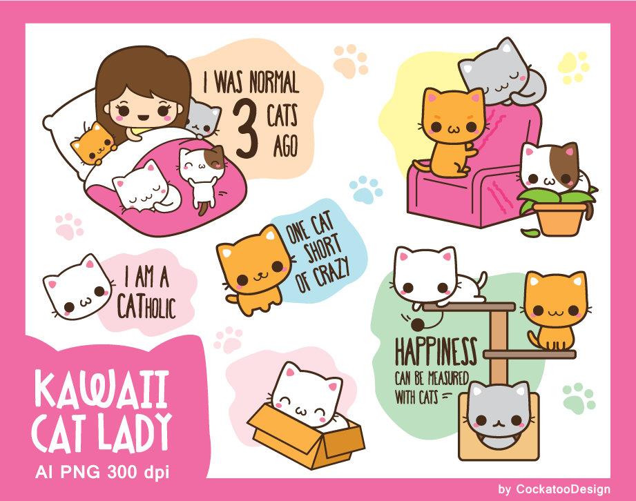 Cat cute clip art. Neighborhood clipart kawaii