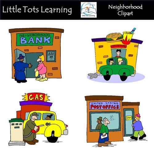 Neighborhood clipart little town. Clip art commercial use