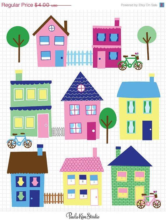 Neighborhood clipart little town. House clip art