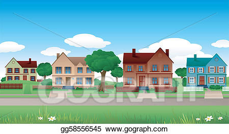 Vector illustration suburban landscape. Neighborhood clipart many house