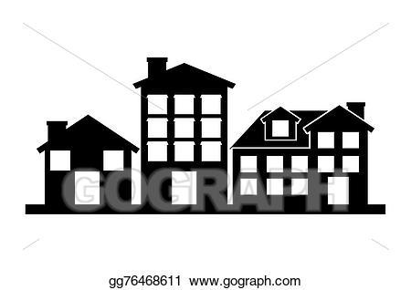 Neighborhood clipart many house. Eps vector welcome stock