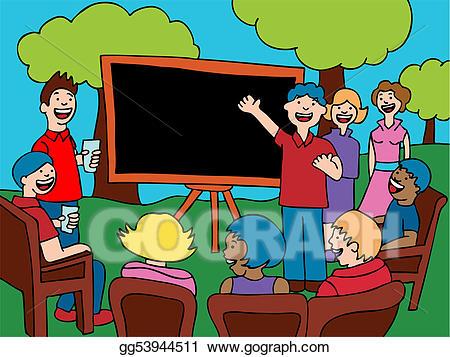 Neighborhood clipart neighborhood meeting. Stock illustrations line art