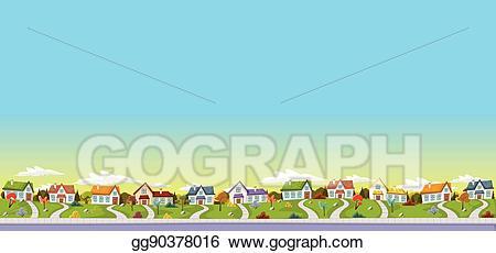 Neighborhood clipart neighborhood park. Vector illustration colorful houses