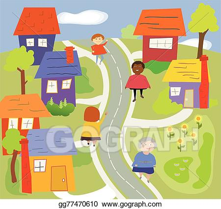 Clip art vector walking. Neighborhood clipart neighborhood road
