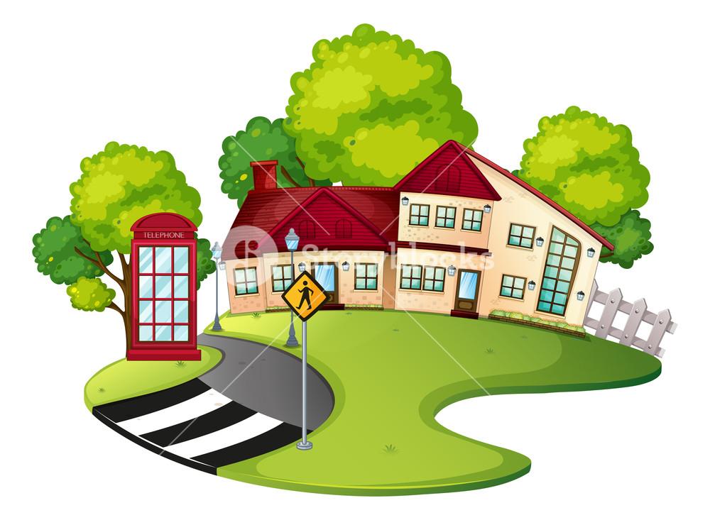Scene with house and. Neighborhood clipart neighborhood road