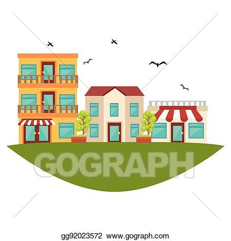 Neighborhood clipart nice neighborhood. Vector stock street icon