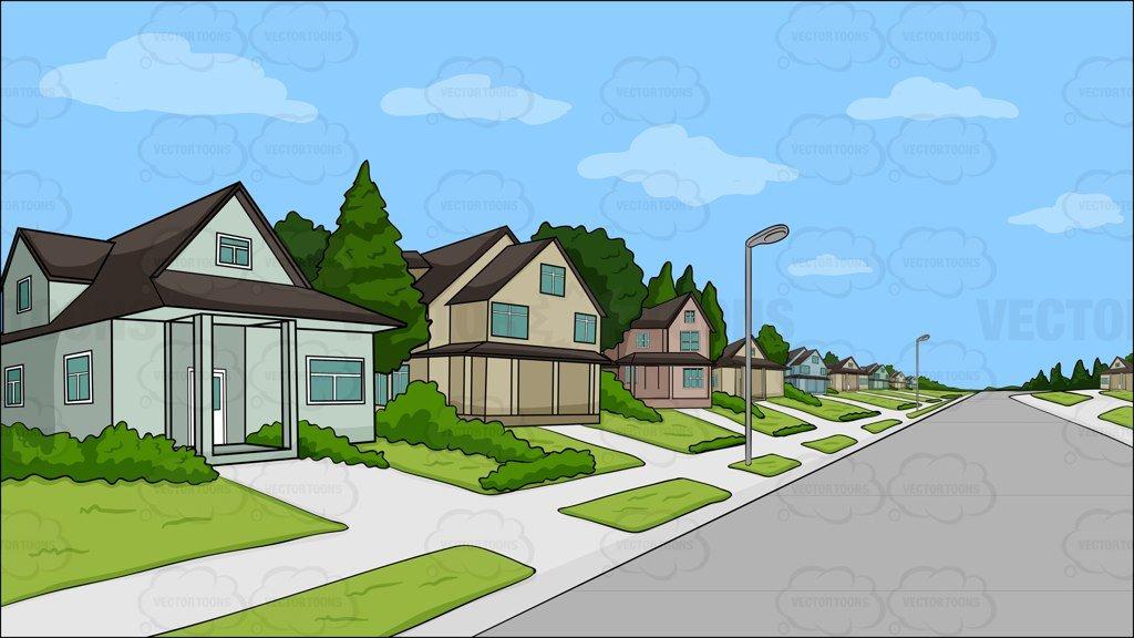 Neighborhood clipart nice neighborhood. A suburban background