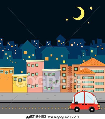 Neighborhood clipart night clipart. Vector illustration scene at