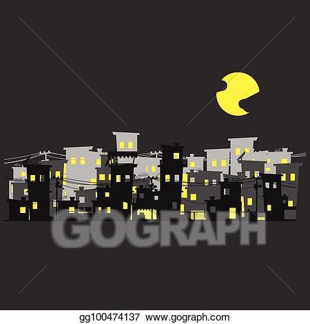 Neighborhood clipart night clipart. Eps illustration street of