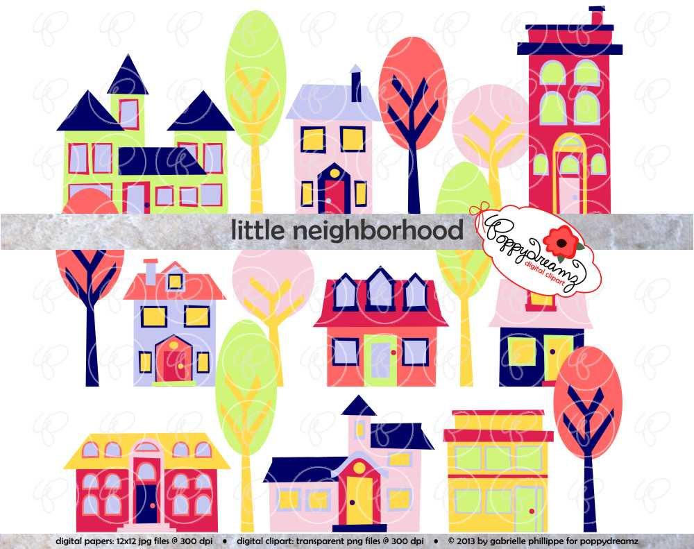 Neighborhood clip art free. Neighbors clipart cute