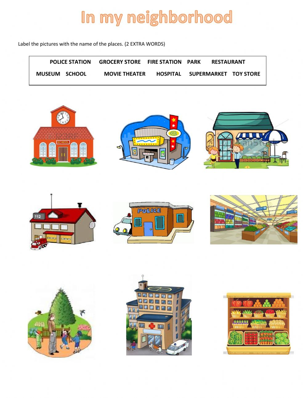 Places in my interactive. Neighborhood clipart our town