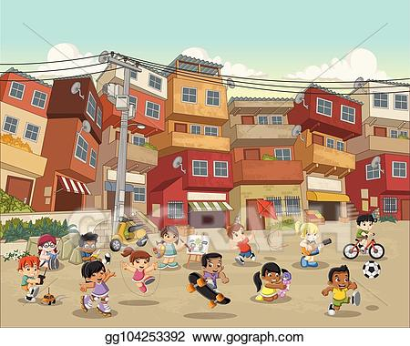 Neighborhood clipart poor neighborhood. Vector street of with