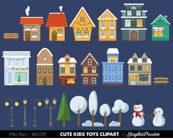 Christmas houses clip art. Neighborhood clipart school