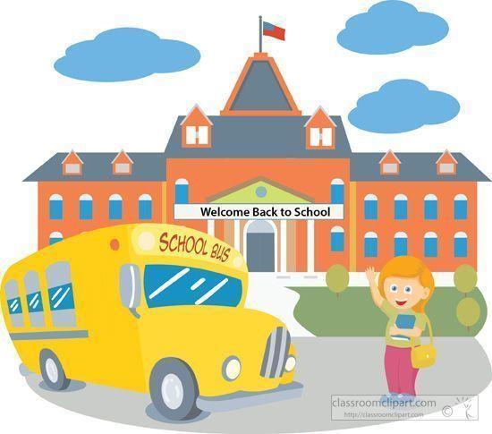 Neighborhood clipart school. Building with bus student
