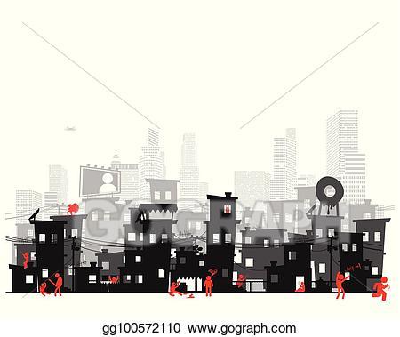 Eps illustration street of. Poverty clipart poor neighborhood