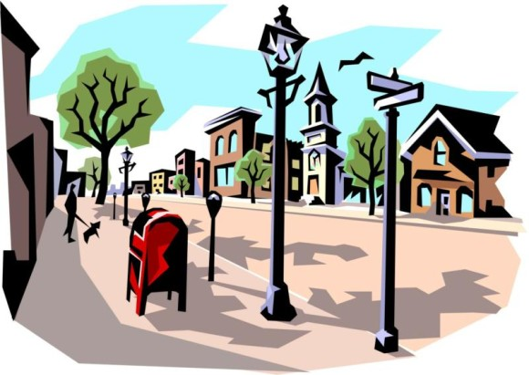 Neighborhood clipart small town. City street free download