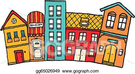 Neighborhood clipart small town. Clip art vector cartoon