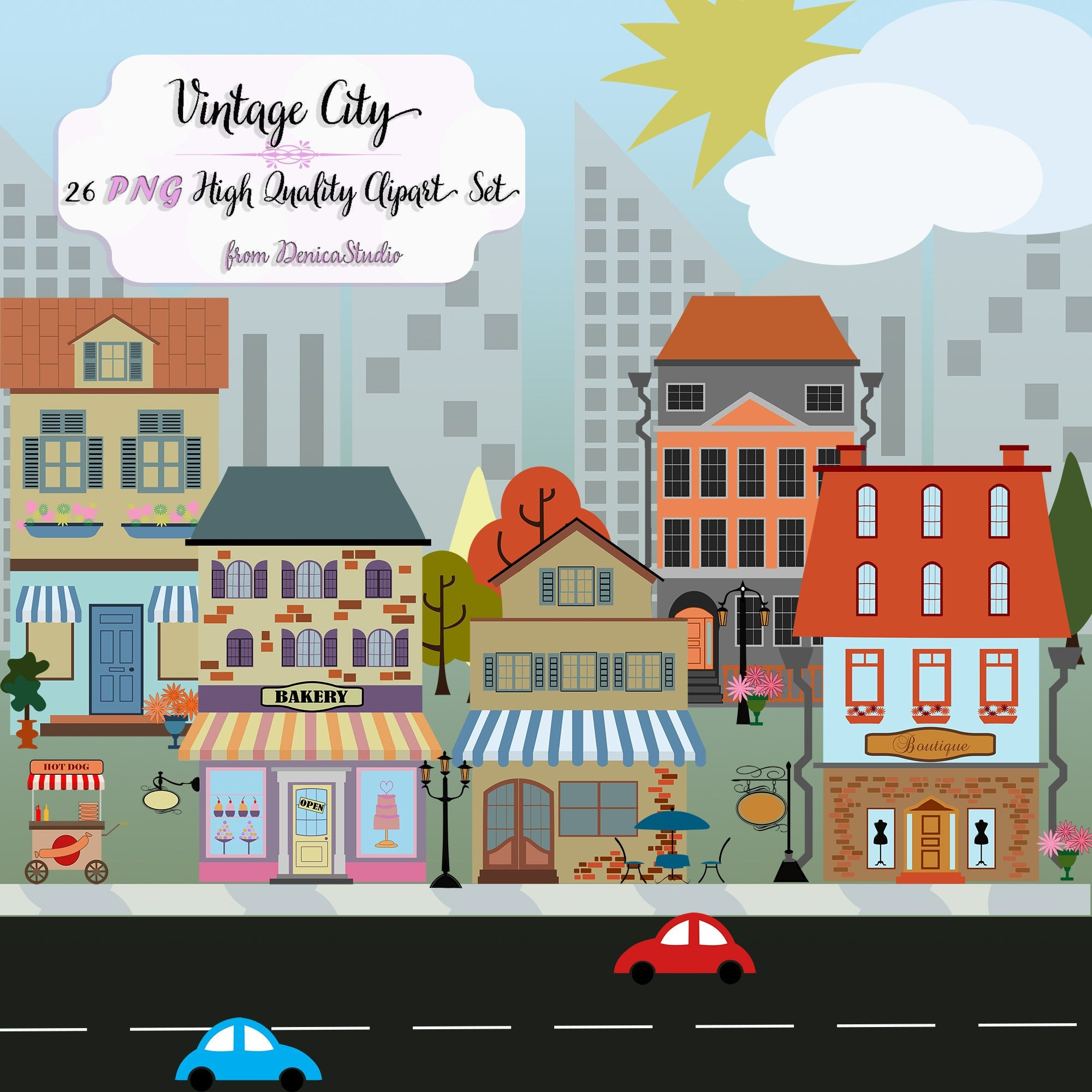 Houses and shops clip. Neighborhood clipart street address