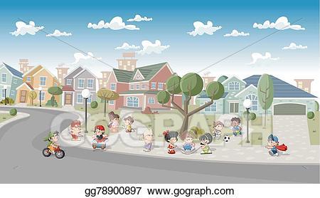 Vector people in the. Neighborhood clipart street address
