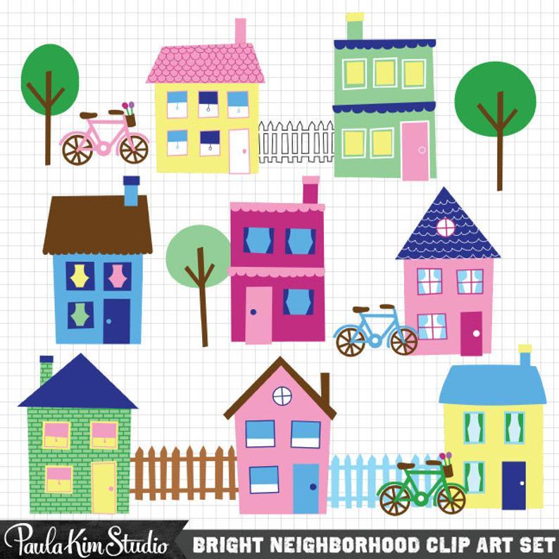 Neighborhood clipart town. House clip art downloadable