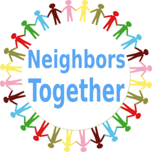 Circle holding hands stick. Neighbors clipart