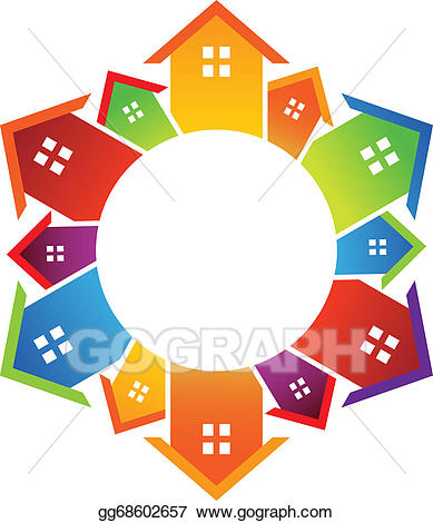 Vector illustration circle of. Neighbors clipart colored house
