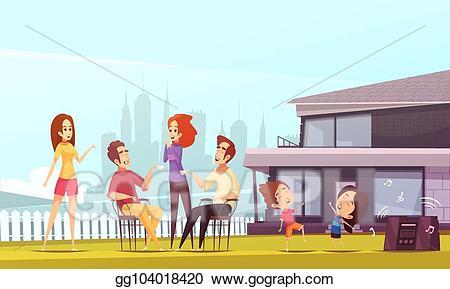 Eps vector party cartoon. Neighbors clipart family help