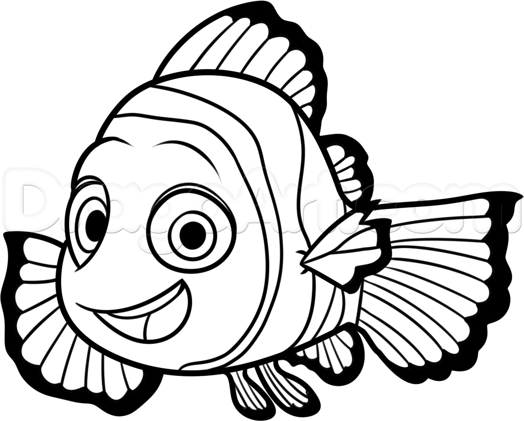 Fish png transparent . Nemo clipart black and white