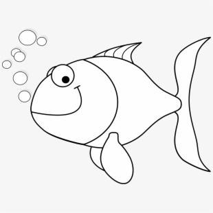 Machovka black white line. Nemo clipart happy fish