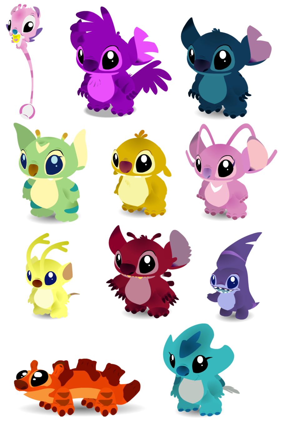 Baby experiments by purplerat. Stitch clipart leroy