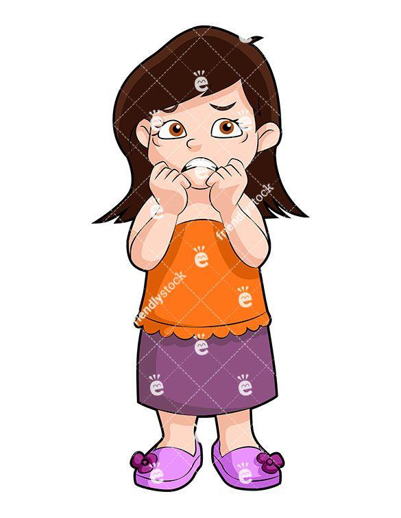 Nervous clipart. Little girl cartoon vector