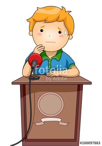 Nervous clipart nervous boy. Kid podium stock image