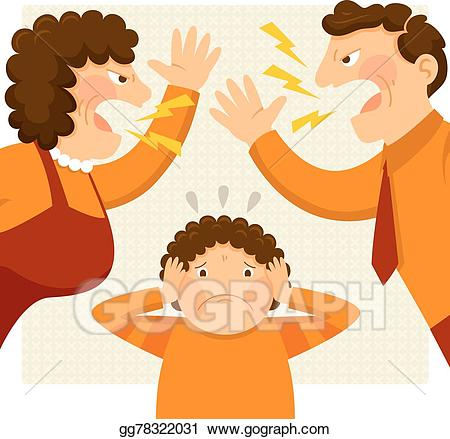 Vector illustration fighting stock. Parents clipart nervous