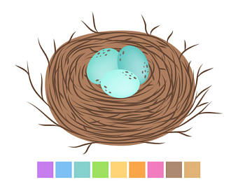 Etsy birds brown easter. Nest clipart