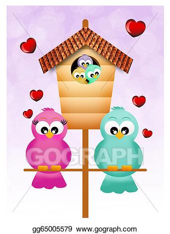 Stock illustration birds illustrations. Nest clipart bird family