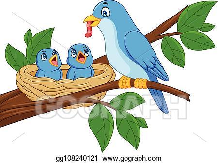 Vector mother blue feeding. Nest clipart bird feeder