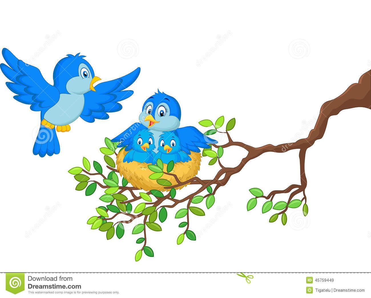 Cartoon stock photos images. Nest clipart blue bird