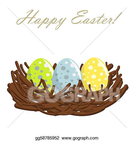 Vector art eggs in. Nest clipart easter egg