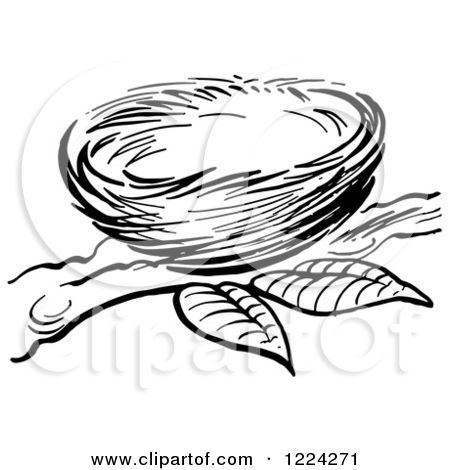 Of a black and. Nest clipart illustration
