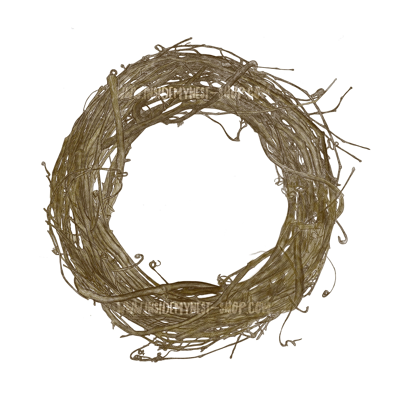 Digital plain watercolour wreath. Nest clipart printable