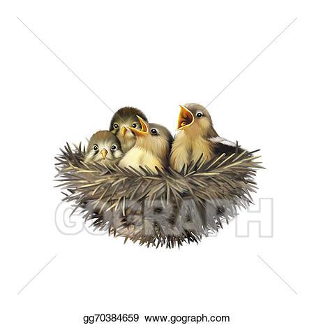 Stock illustration four hungry. Nest clipart sparrow nest