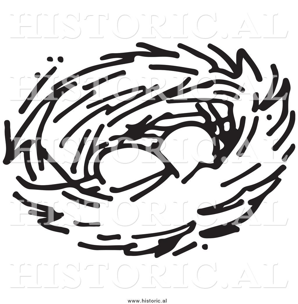 Nest clipart two egg. Bird black and white