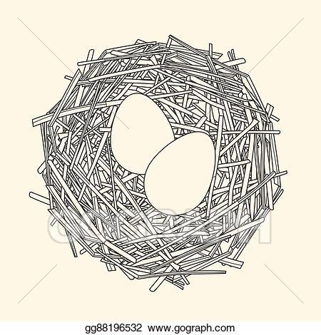Clip art vector straw. Nest clipart two egg