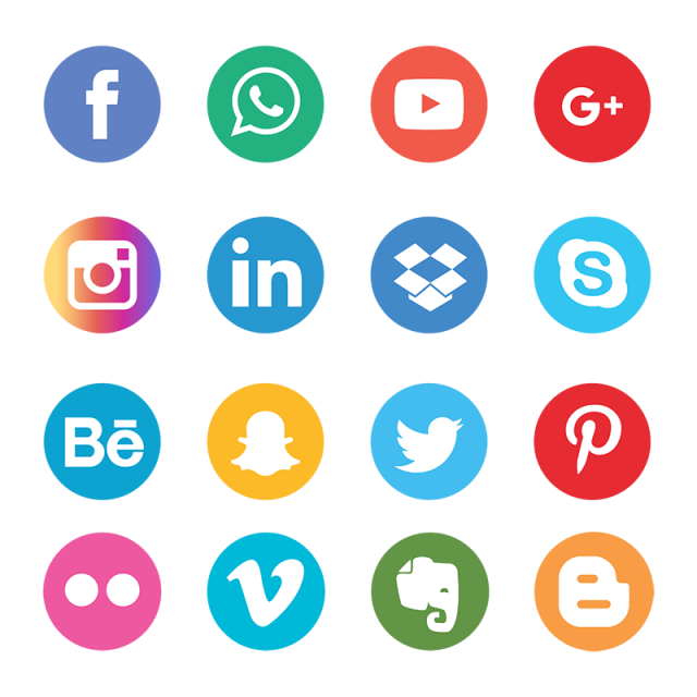 Icons set network background. Phone clipart social media