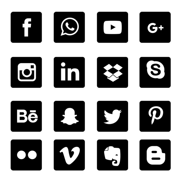 Square clipart vector black. Social media icons set