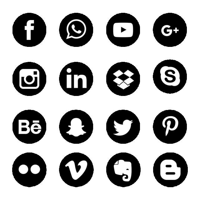 Network clipart vector png. Social media icons set