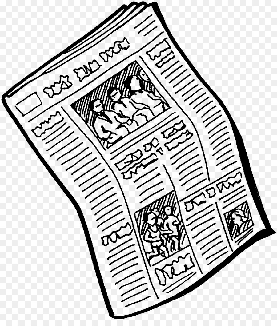 Student cartoon newspaper . News clipart black and white